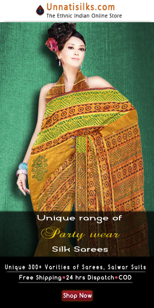 Silk saris have been influenced by Pure Tribal art silk, and are embroidered with temple spire patterns on the border